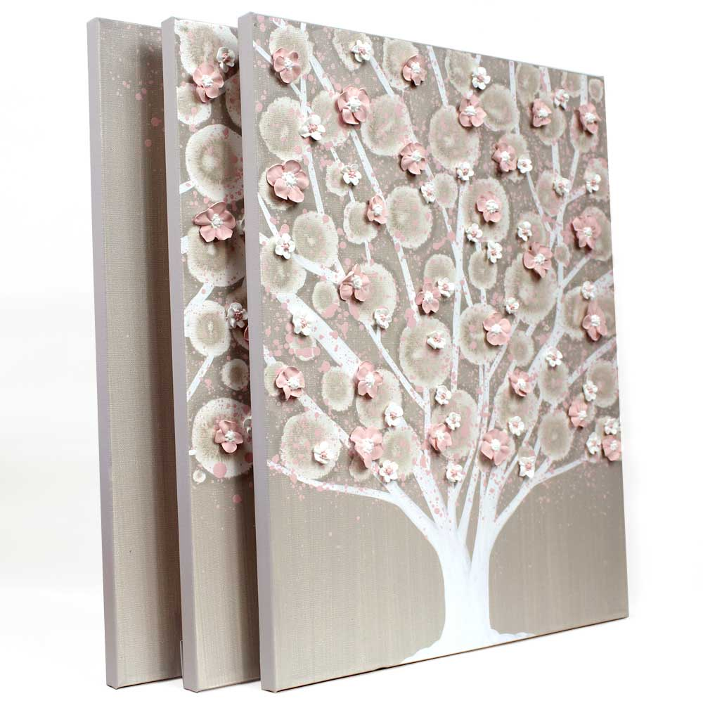 Side view of nursery art of warm gray and pink tree