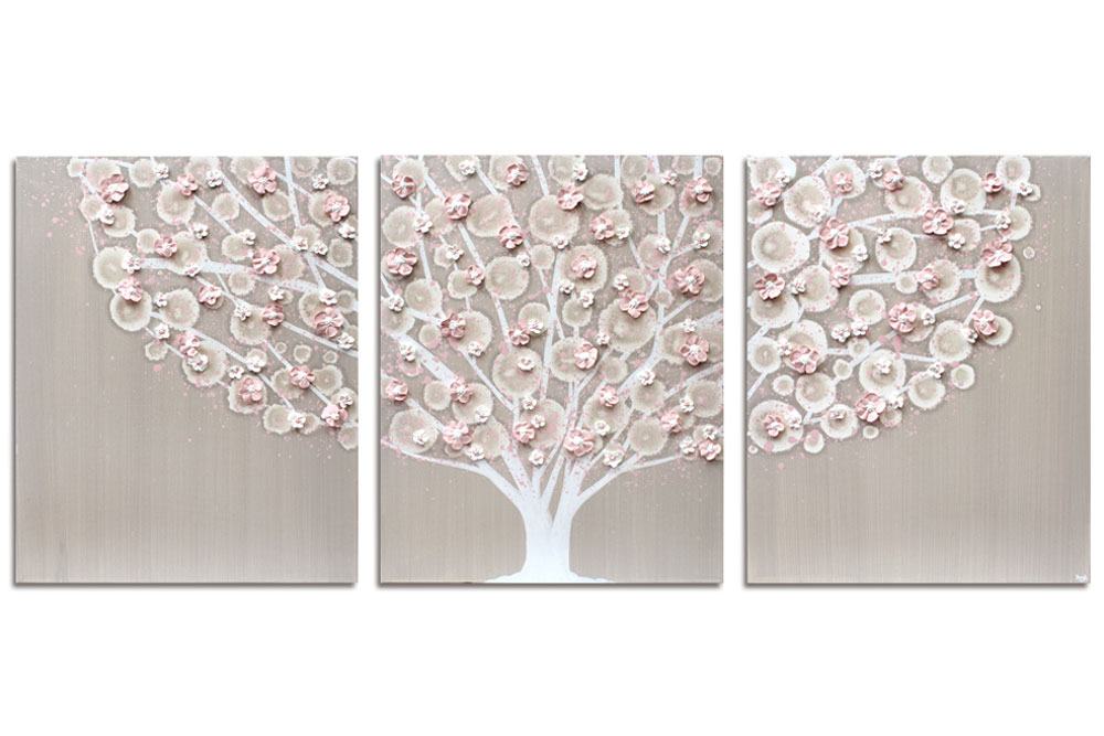 Nursery art of warm gray and pink tree