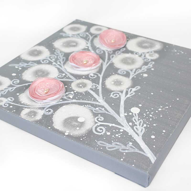 Setting of nursery canvas art gray and pink poppy branch