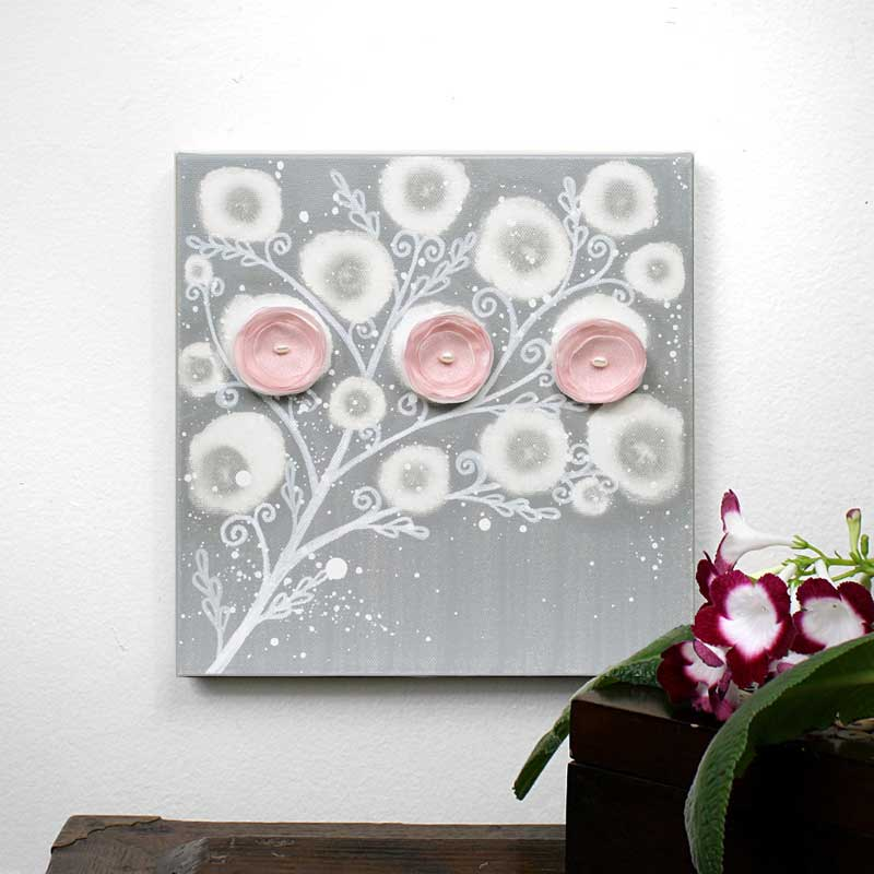 Art Painting Of Flowers For Pink And Gray Girl Nursery