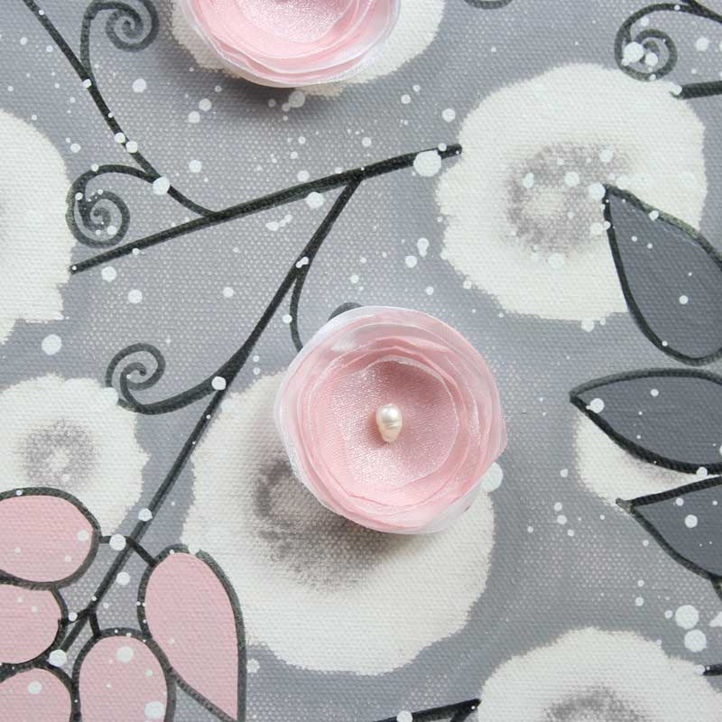 Details of nursery canvas art gray and pink climbing flowers