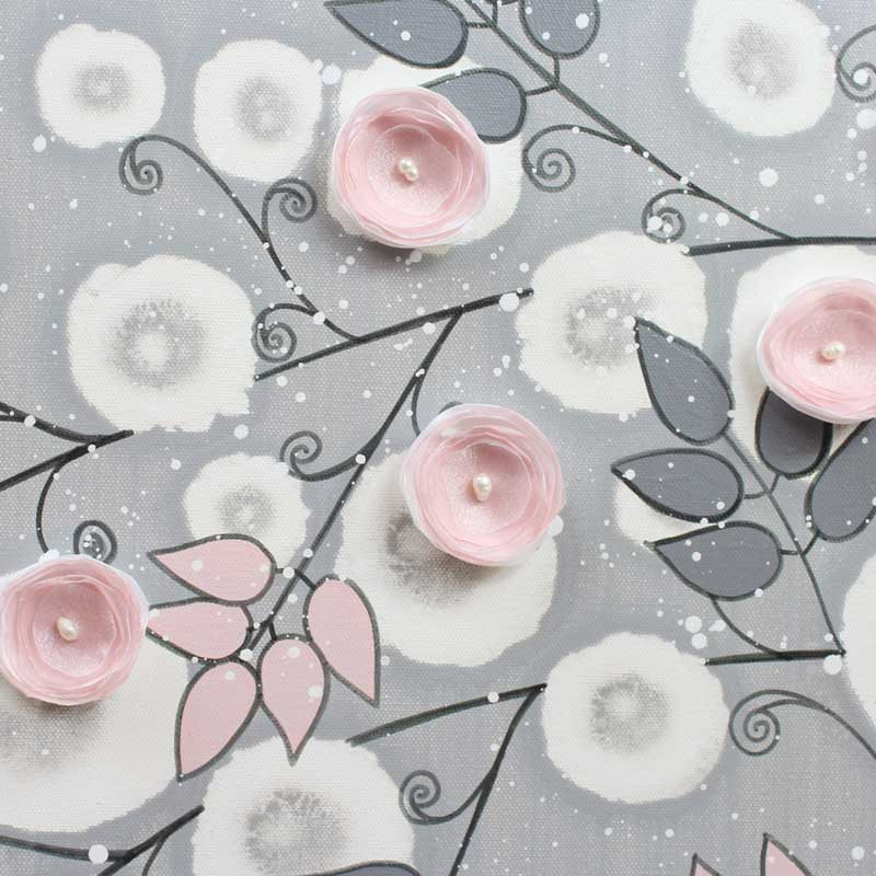 Center view of nursery canvas art gray and pink climbing flowers