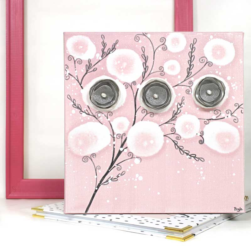Setting view of nursery canvas art pink poppy branches