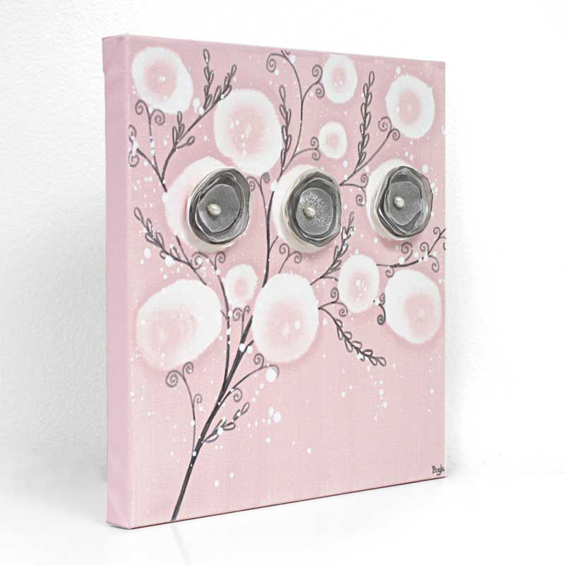 Side View Of Nursery Canvas Art Pink Poppy Branches