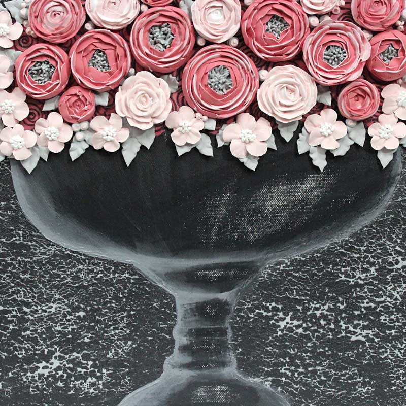 Center view of wall art charcoal and pink rose bouquet