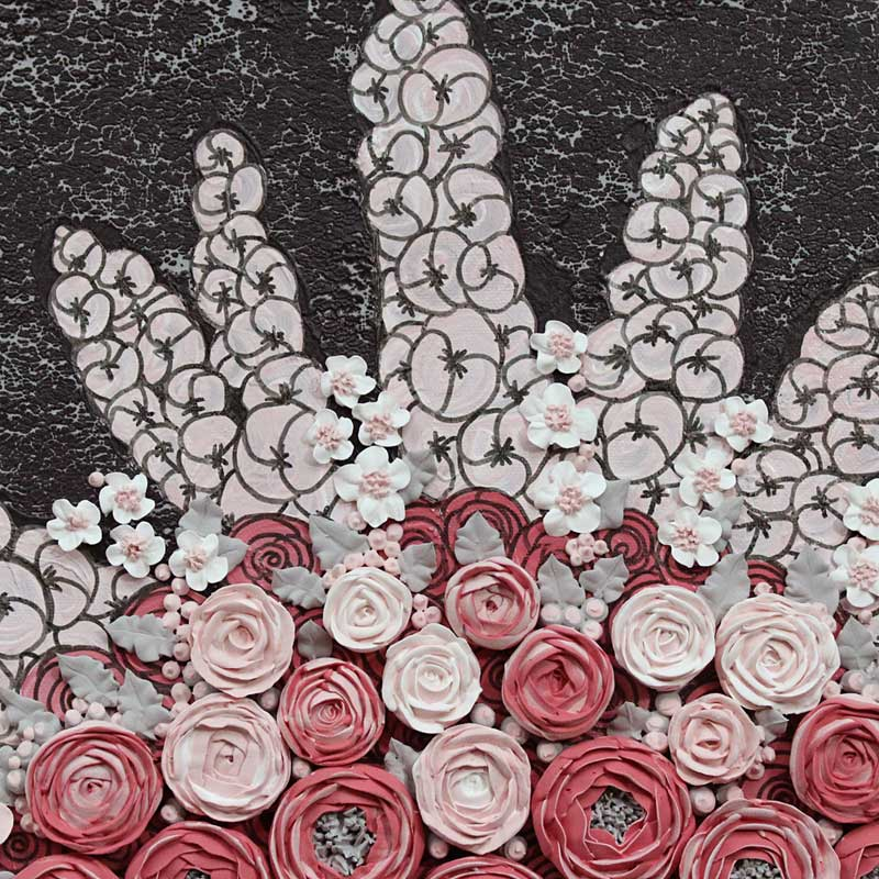 Details of wall art charcoal and pink rose bouquet
