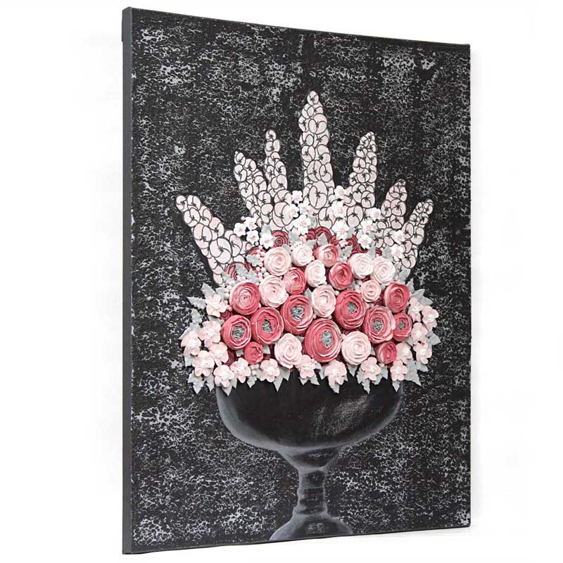 Side view of wall art charcoal and pink rose bouquet