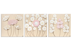 Nursery wall art of peony pink flowers