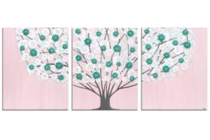 Nursery art pink and teal blossom tree