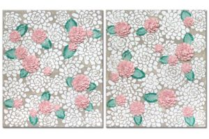 French Gray and Pink Dahlia Flower Nursery Wall Art – Large