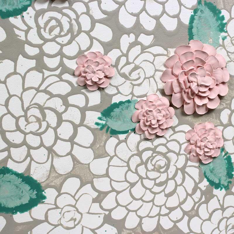 Flowers on nursery art warm gray and pink dahlias