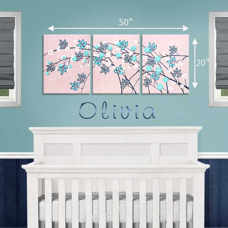 Size guide for nursery art of pink and aqua climbing flowers
