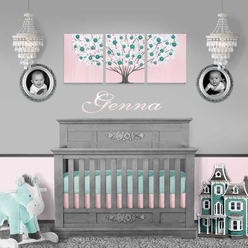 Setting of nursery art pink and teal blossom tree