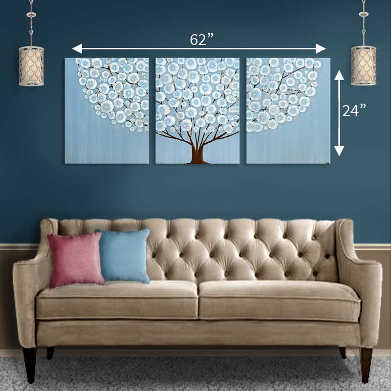 Extra large size guide for blue tree painting
