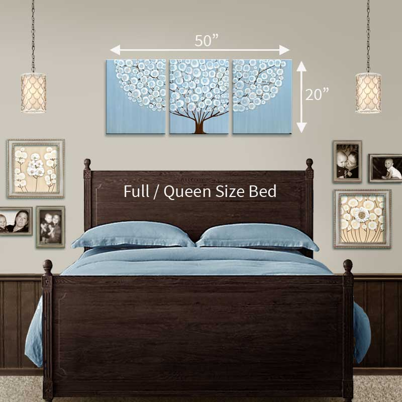 Size guide in bedroom for canvas art blue and brown tree