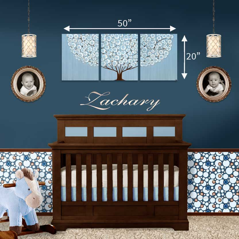 Size guide in nursery for canvas art blue and brown tree