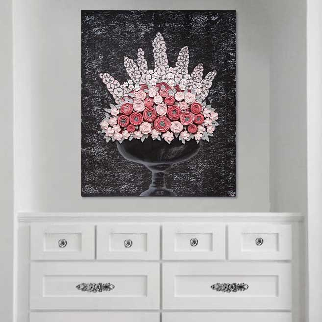 Setting view of wall art charcoal and pink rose bouquet