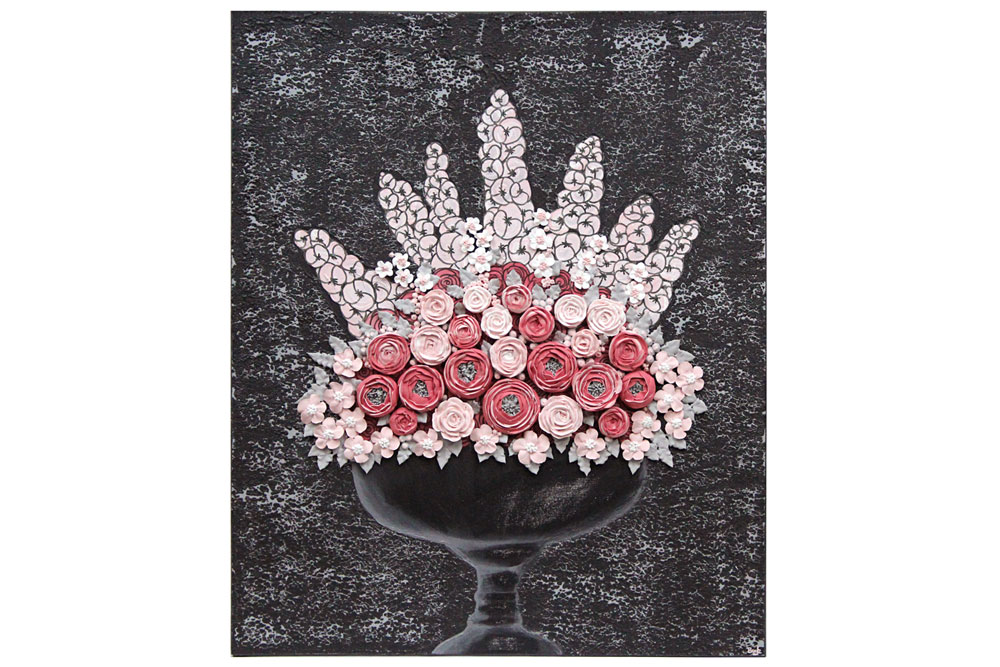 Wall art charcoal and pink rose bouquet