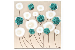 Wall art teal ruffled roses