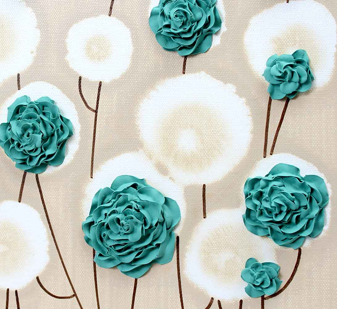 rose canvas wall art textured painting teal and khaki small amborela. Black Bedroom Furniture Sets. Home Design Ideas