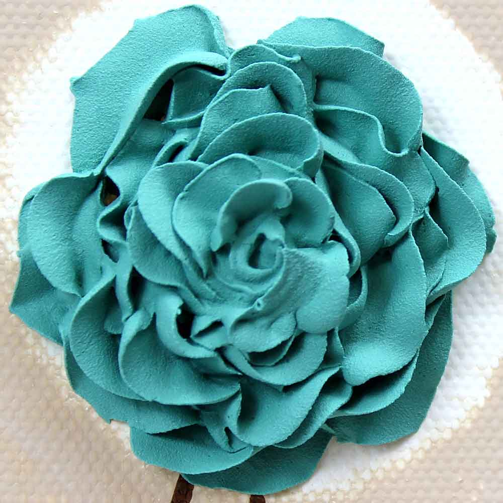Close up of wall art teal ruffled roses