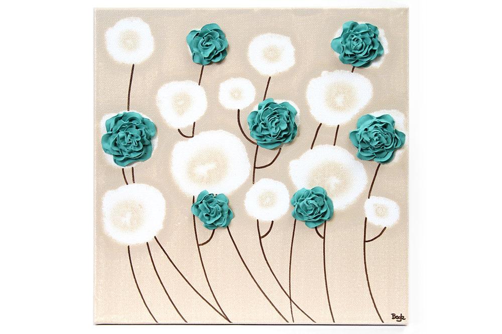 Wall art teal ruffled roses