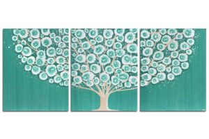 Teal Bedroom Wall Art Painting Of Tree Triptych Canvas U2013 Large