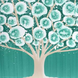 Teal Wall Art Painting of Tree Triptych Canvas | Large – Extra Large