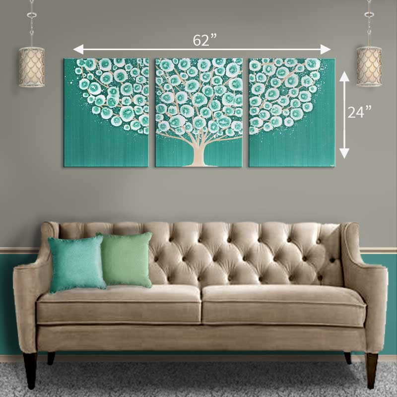 Extra large size guide for wall art over sofa teal tree