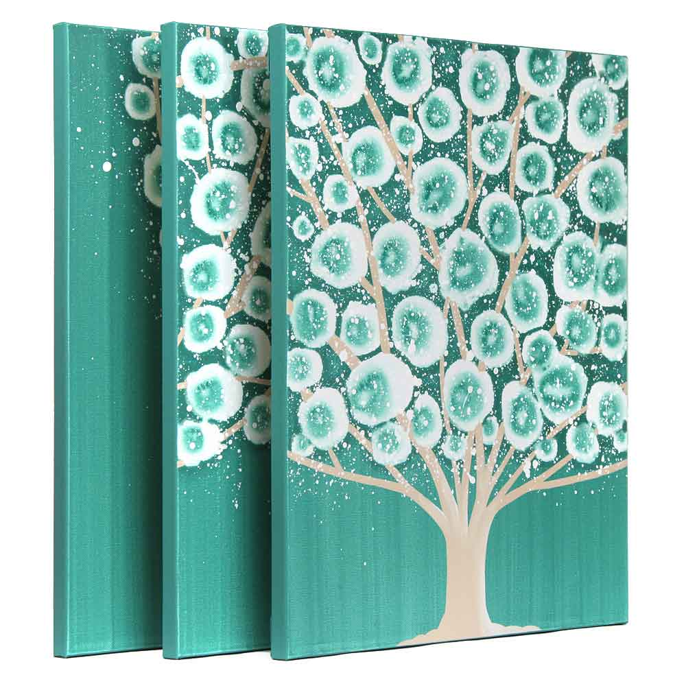 Side view of wall art teal and khaki tree