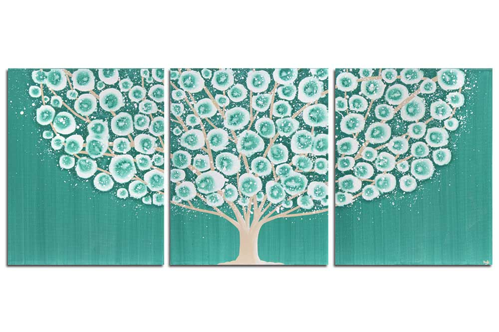 Wall art teal and khaki tree