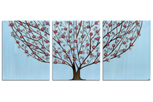 Wall art flowering tree in sky blue and wine red