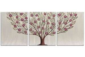 Painting of Tree on Canvas in Warm Gray and Red | Large – Extra Large