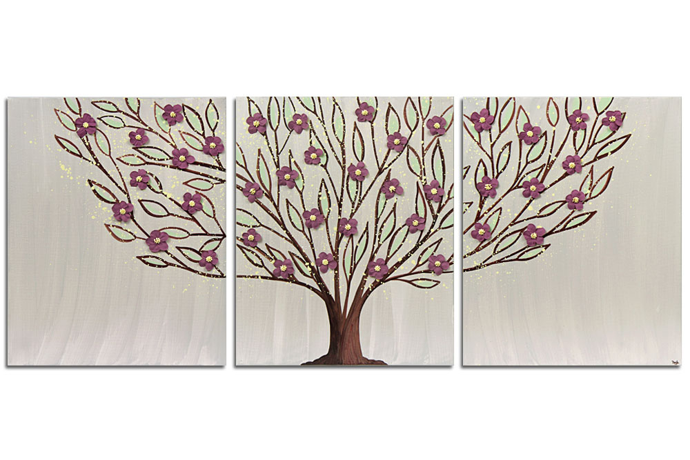 Wall art flowering tree in gray and wine
