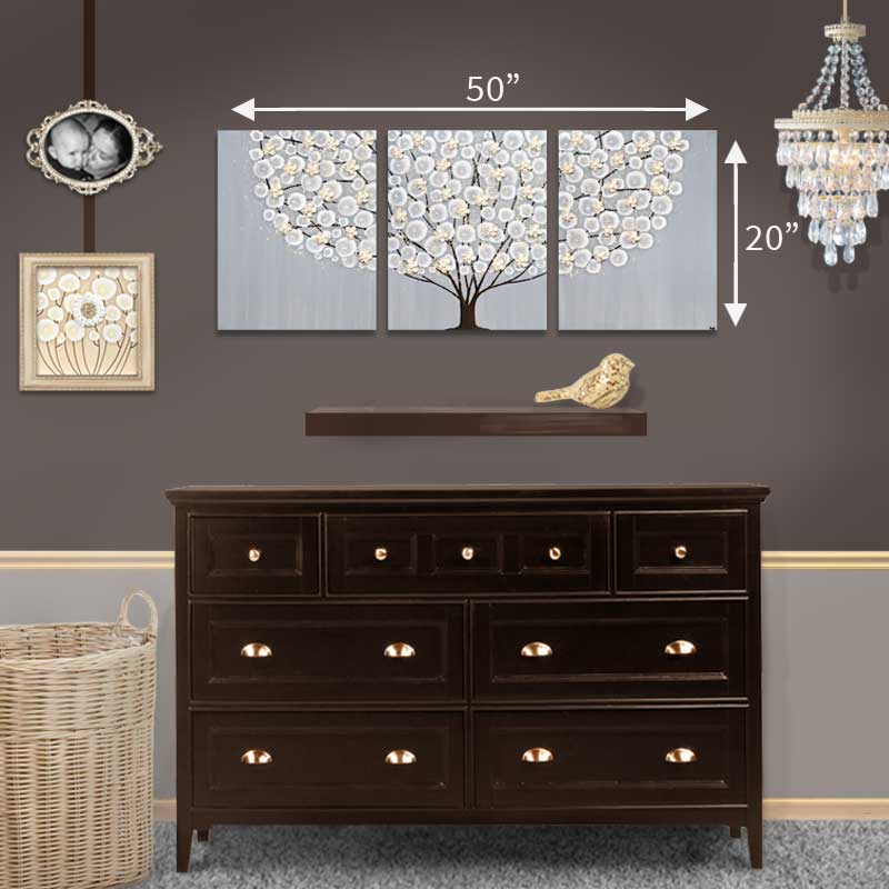 Size guide for wall art gray and brown apple tree