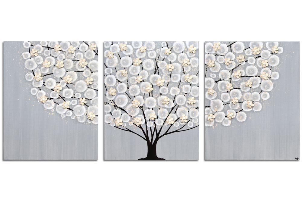 Wall art gray and brown tree