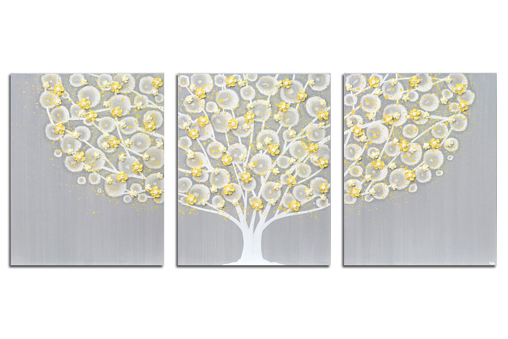 Gray And Yellow Wall Art Tree On Canvas Triptych U2013 Large