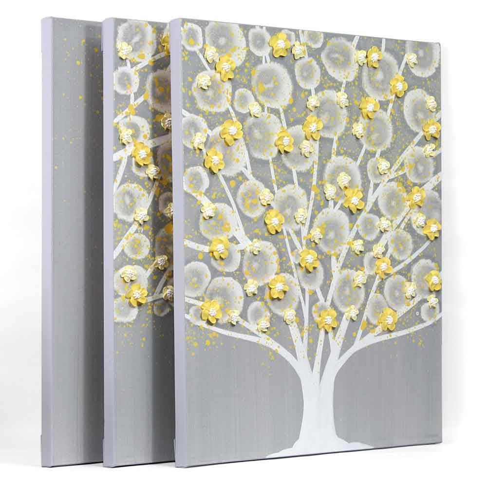 Yellow Wall Art Gray And Yellow Wall Art Tree On Canvas Triptych  Large  Amborela
