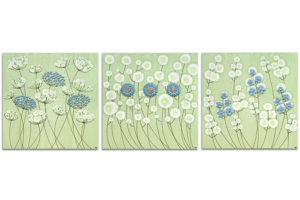 Wall art flowers in green and blue