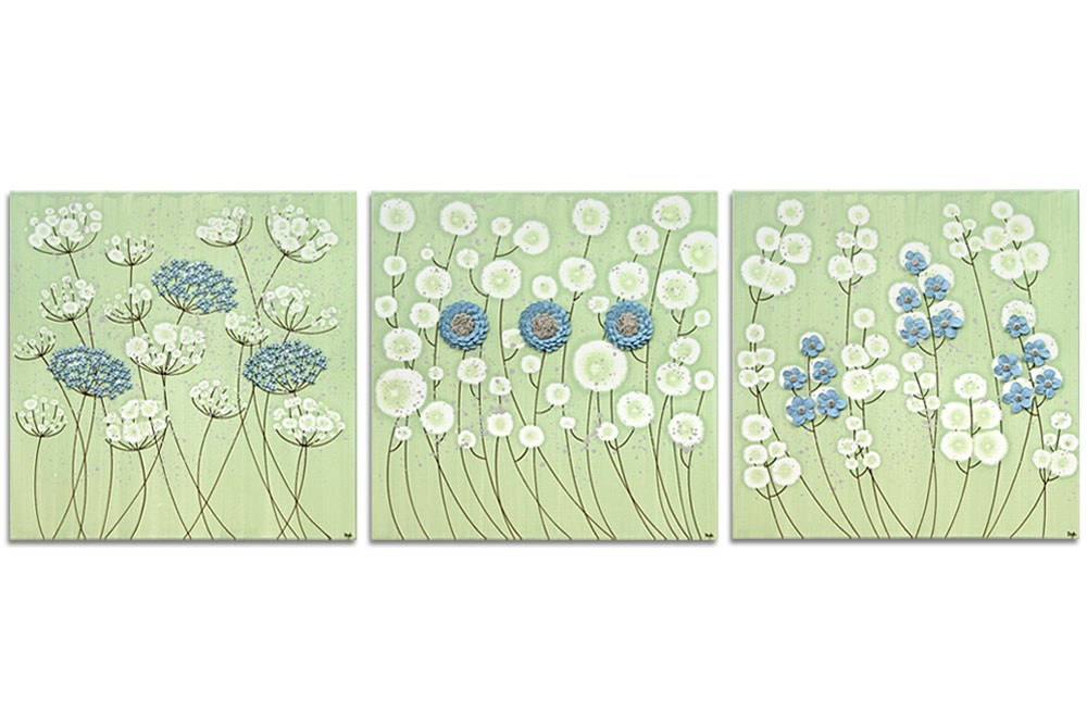 Flower Wall Art on 3 Canvases in Green and Blue - Extra Large | Amborela