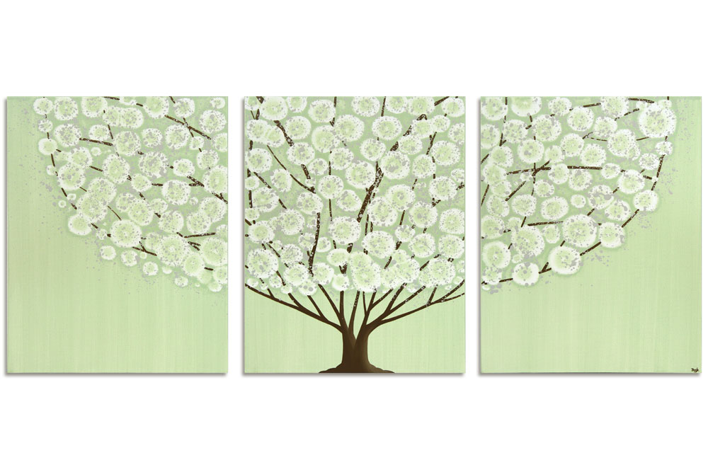 Canvas Wall Art Painting of Green and Brown Tree - Large | Amborela