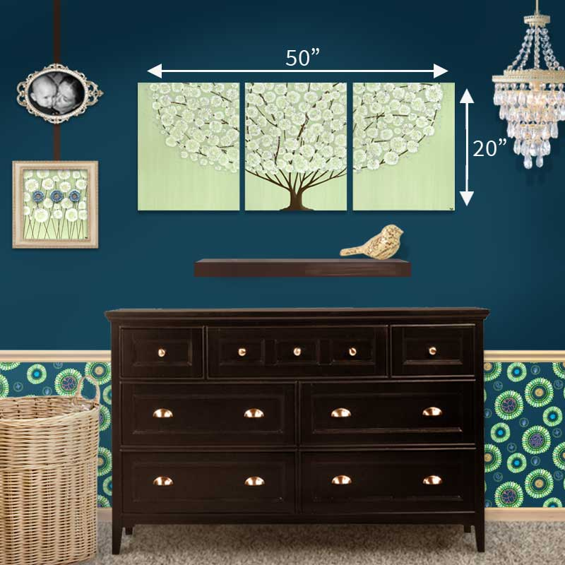 Size guide of nursery for wall art green and brown tree