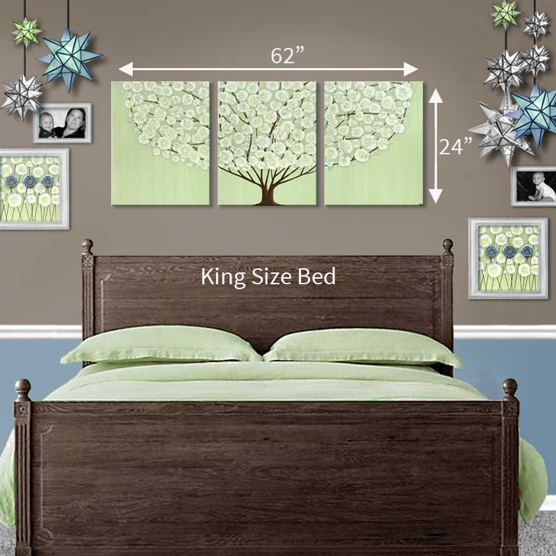 Canvas wall art painting of green and brown tree large - Over the bed art ...