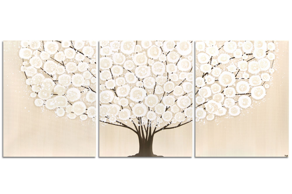 Wall art khaki and brown tree