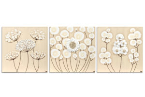 Wall art khaki and white flower set of three