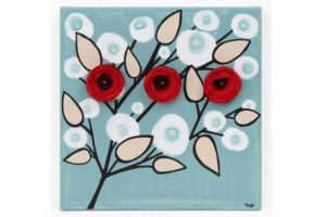 Wall art of red and black flower branches