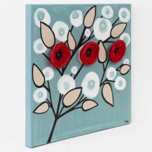 Blue and Red Canvas Art Painting of 3D Flowers – Small