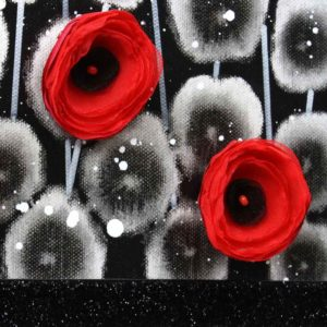 Red and Black Wall Art Poppy Flower Painting Canvas – Small