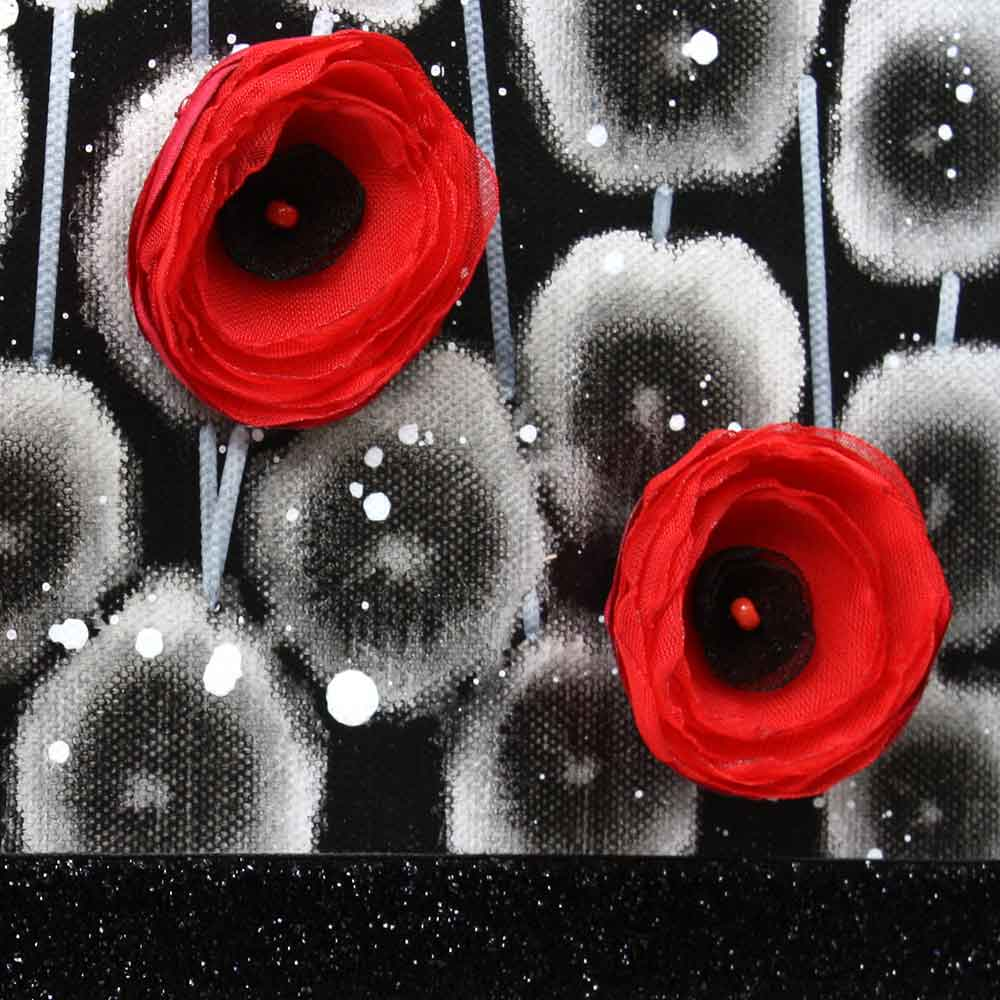 Close up on wall art red poppy field