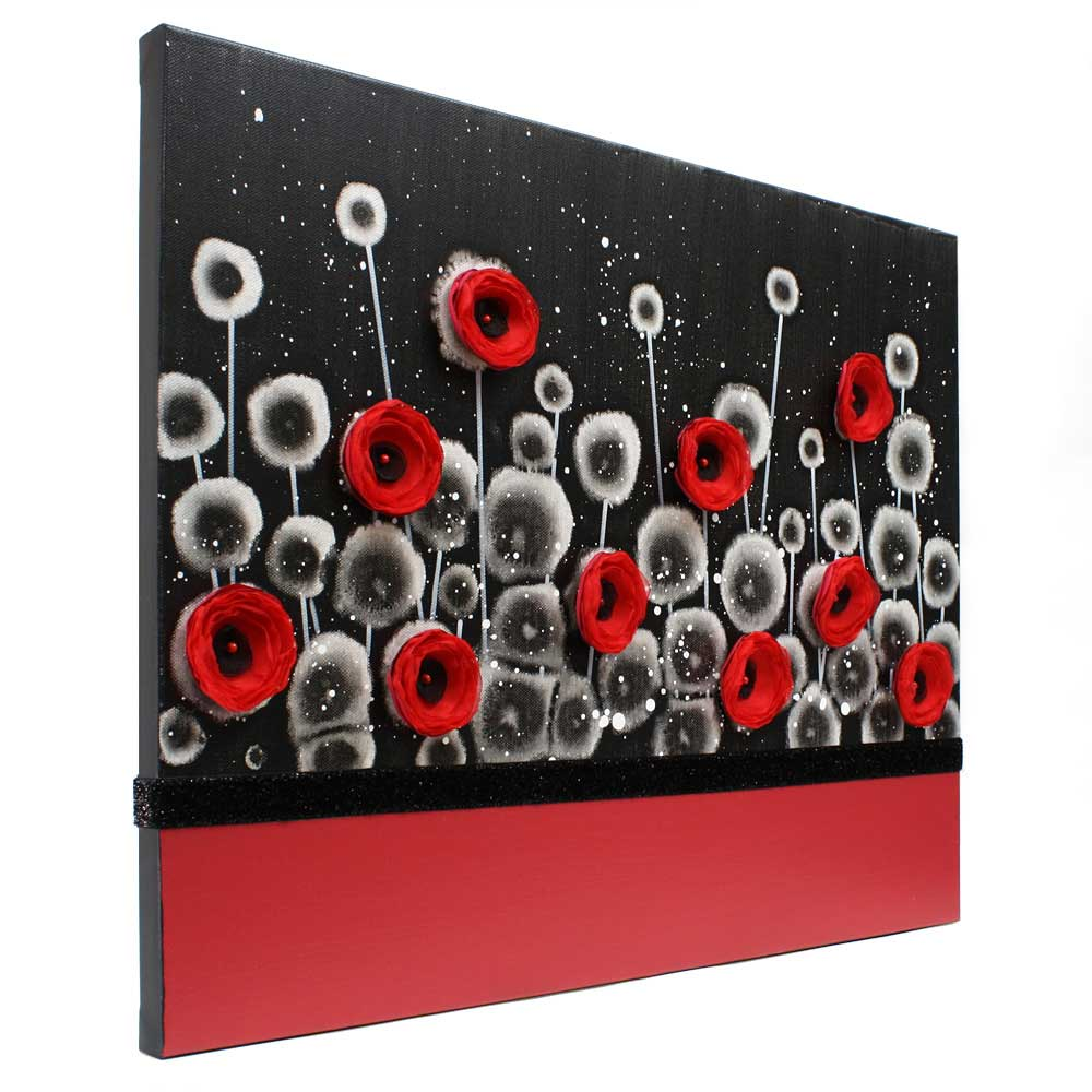 Side view on wall art red poppy field